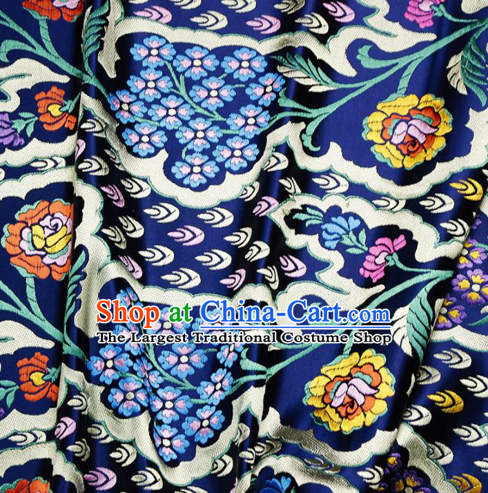 Asian Chinese Royal Pattern Navy Brocade Fabric Traditional Silk Fabric Kimono Material