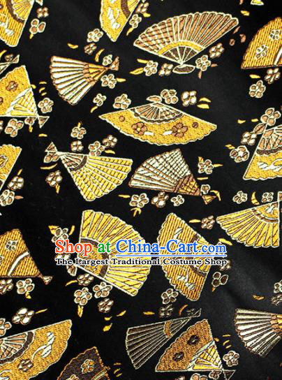 Asian Chinese Royal Fan Pattern Black Brocade Fabric Traditional Silk Fabric Kimono Material
