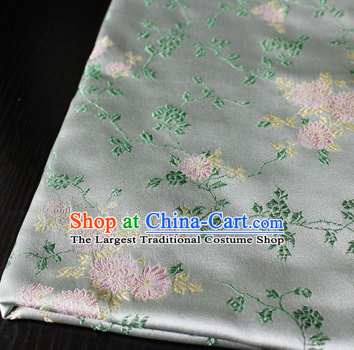 Asian Chinese Royal Chrysanthemum Pattern Brocade Fabric Traditional Silk Fabric Kimono Material