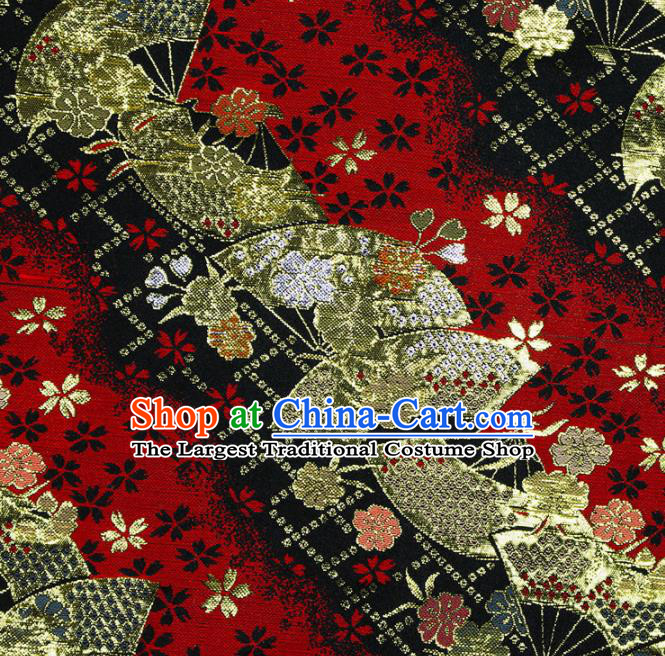 Asian Chinese Royal Fan Pattern Red Brocade Fabric Traditional Silk Fabric Kimono Material