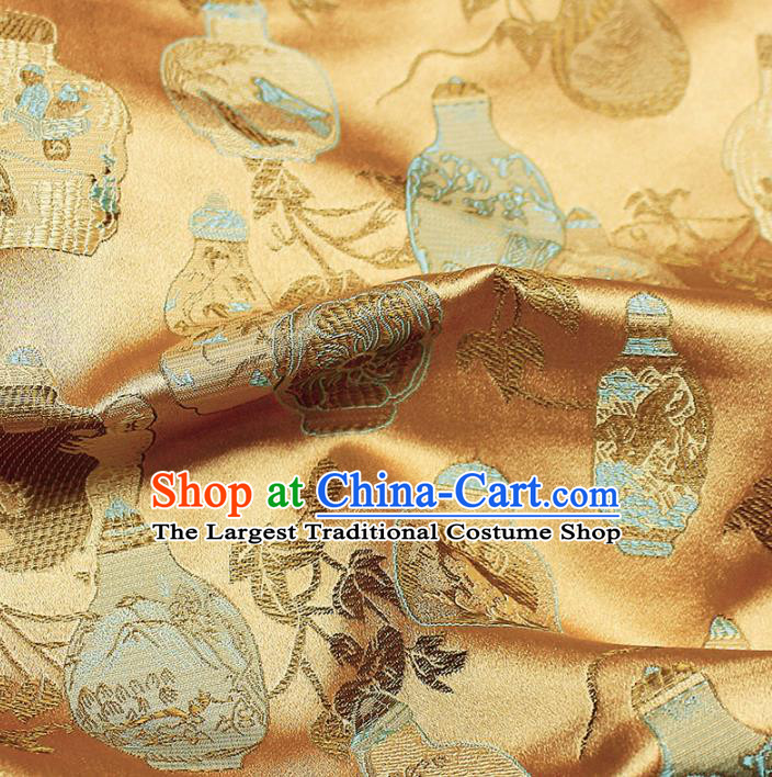 Asian Chinese Royal Vase Pattern Golden Brocade Fabric Traditional Silk Fabric Kimono Material
