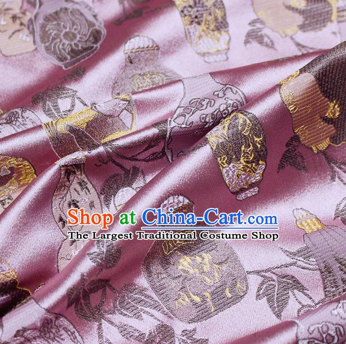 Asian Chinese Royal Vase Pattern Pink Brocade Fabric Traditional Silk Fabric Kimono Material
