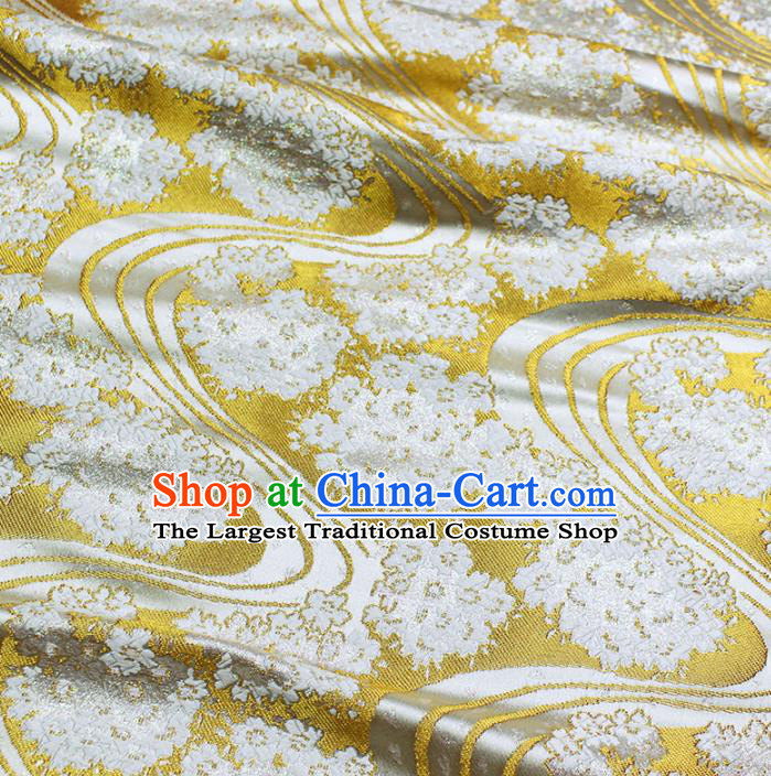 Asian Chinese Royal Pattern Golden Brocade Fabric Traditional Silk Fabric Kimono Material