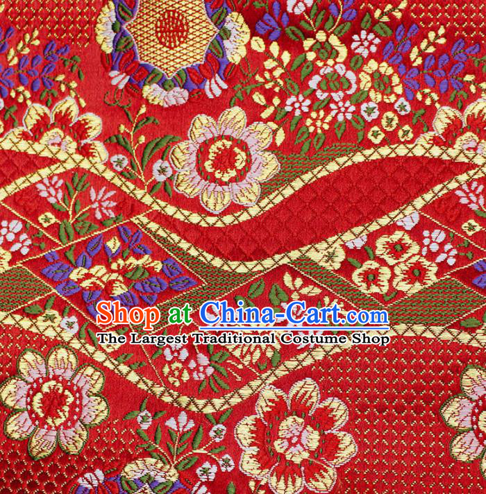 Asian Chinese Royal Flowers Pattern Red Brocade Fabric Traditional Silk Fabric Kimono Material