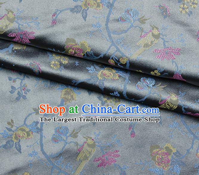 Asian Chinese Royal Flowers Birds Pattern Grey Brocade Fabric Traditional Silk Fabric Kimono Material