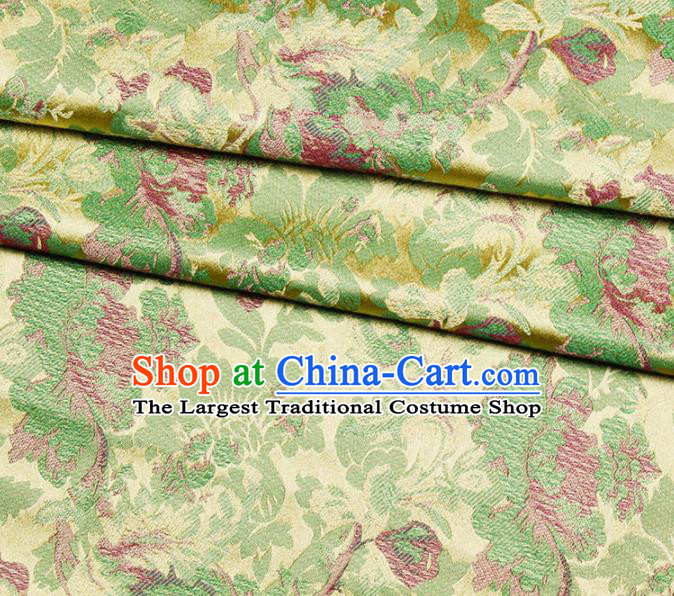 Asian Chinese Royal Green Peony Pattern Brocade Fabric Traditional Silk Fabric Kimono Material