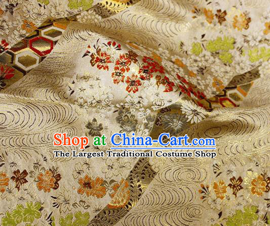 Asian Chinese Royal Cherry Blossom Pattern Golden Brocade Fabric Traditional Silk Fabric Kimono Material