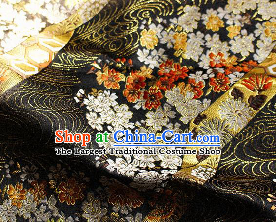 Asian Chinese Royal Cherry Blossom Pattern Black Brocade Fabric Traditional Silk Fabric Kimono Material