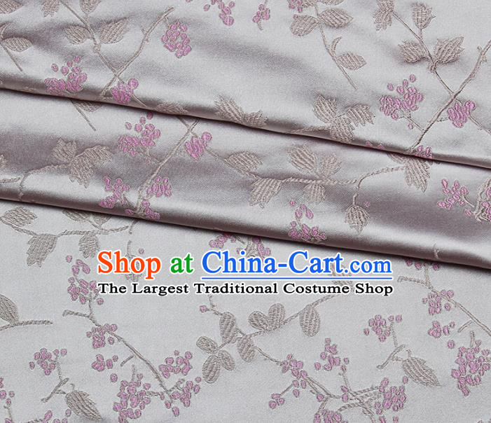 Asian Chinese Royal Wisteria Flowers Pattern Grey Brocade Fabric Traditional Silk Fabric Kimono Material