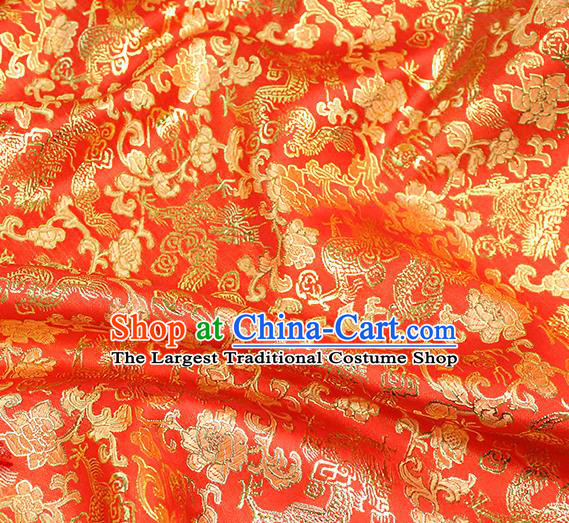 Asian Chinese Royal Golden Dragon Peony Pattern Red Brocade Fabric Traditional Silk Fabric Tang Suit Material