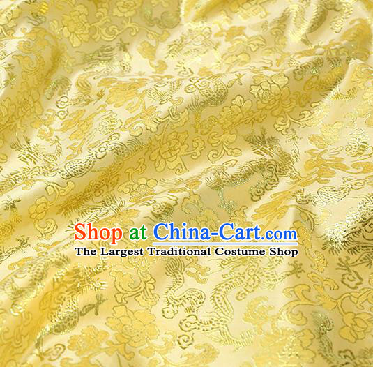 Asian Chinese Royal Dragon Peony Pattern Yellow Brocade Fabric Traditional Silk Fabric Tang Suit Material