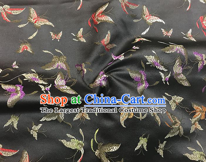 Asian Chinese Royal Embroidery Butterfly Pattern Black Brocade Fabric Traditional Silk Fabric Kimono Material
