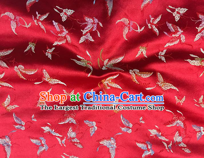 Asian Chinese Royal Embroidery Butterfly Pattern Red Brocade Fabric Traditional Silk Fabric Kimono Material
