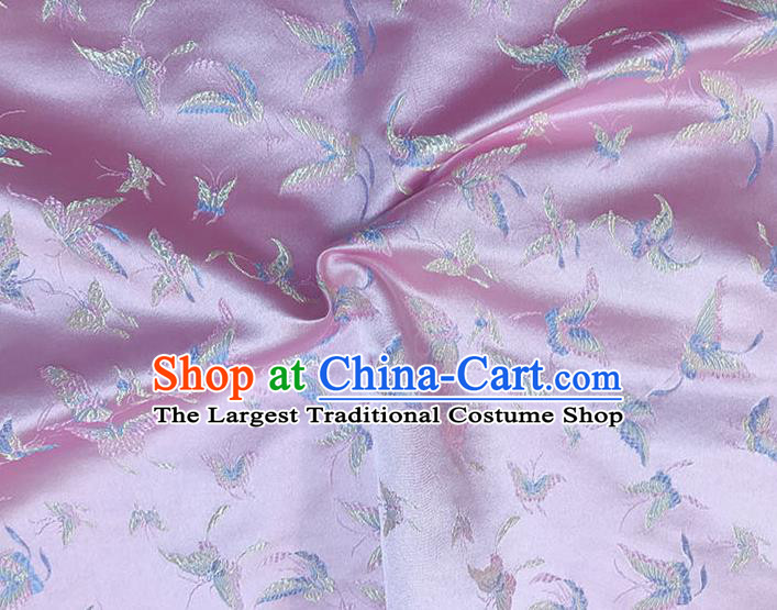 Asian Chinese Royal Embroidery Butterfly Pattern Pink Brocade Fabric Traditional Silk Fabric Kimono Material