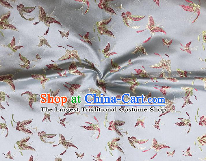 Asian Chinese Royal Embroidery Butterfly Pattern Grey Brocade Fabric Traditional Silk Fabric Kimono Material