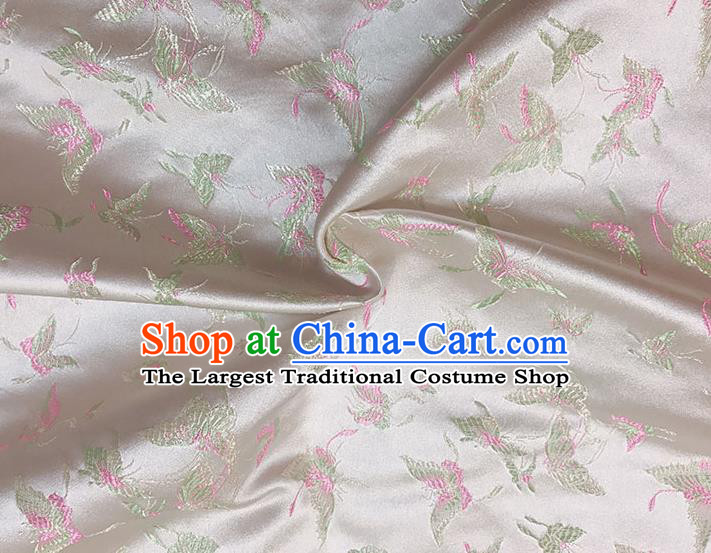 Asian Chinese Royal Embroidery Butterfly Pattern Champagne Brocade Fabric Traditional Silk Fabric Kimono Material