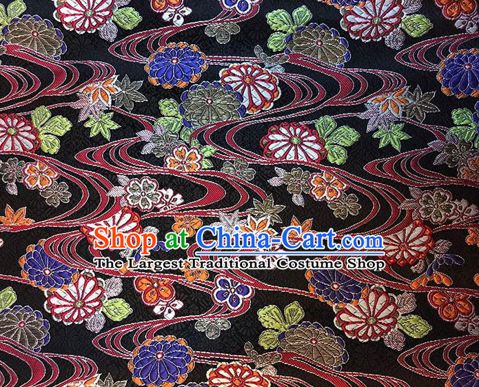 Asian Chinese Royal Round Flowers Pattern Black Brocade Fabric Traditional Silk Fabric Kimono Material