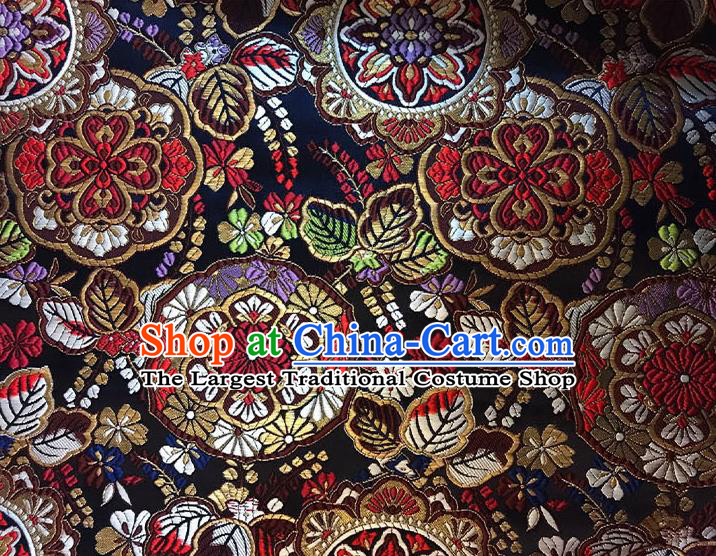 Asian Chinese Royal Flowers Pattern Black Brocade Fabric Traditional Silk Fabric Kimono Material