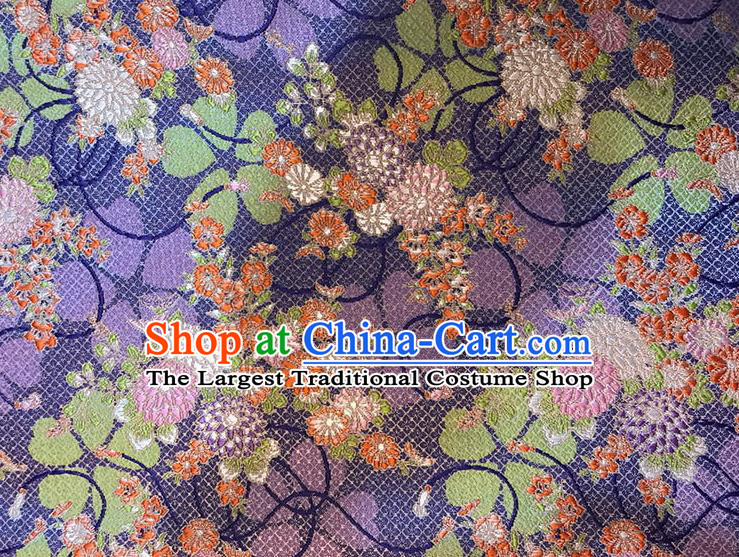 Asian Chinese Royal Daisy Flowers Pattern Purple Brocade Fabric Traditional Silk Fabric Kimono Material