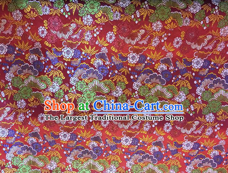 Asian Chinese Royal Cherry Blossom Pattern Red Brocade Fabric Traditional Silk Fabric Kimono Material