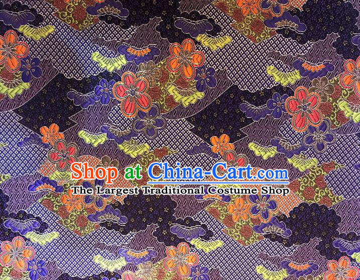 Asian Chinese Royal Cherry Blossom Pattern Purple Brocade Fabric Traditional Silk Fabric Kimono Material