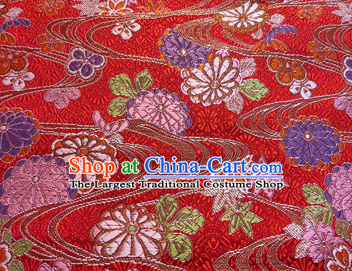 Asian Chinese Royal Maple Leaf Pattern Red Brocade Fabric Traditional Silk Fabric Kimono Material