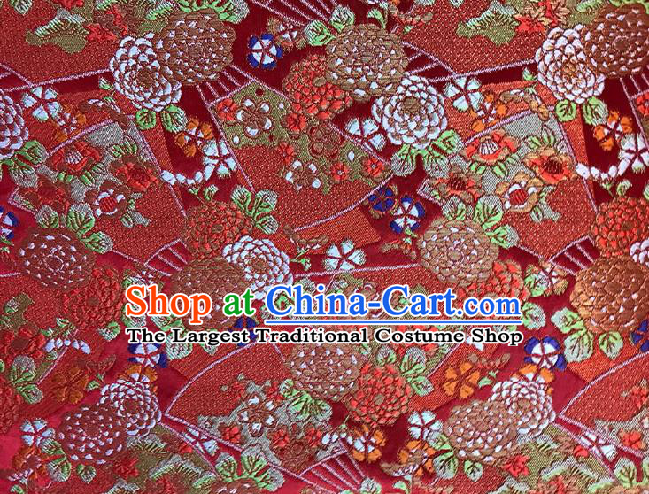 Asian Chinese Royal Pattern Red Brocade Fabric Traditional Silk Fabric Kimono Material
