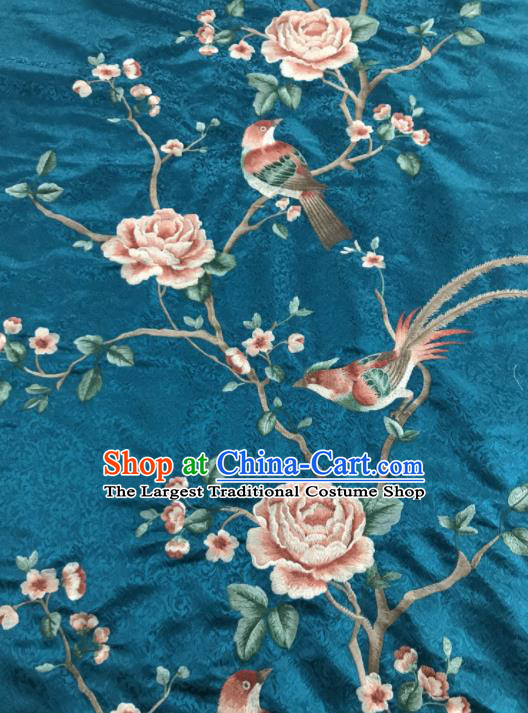 Asian Chinese Royal Embroidered Peony Birds Pattern Green Brocade Fabric Traditional Cheongsam Silk Fabric Material