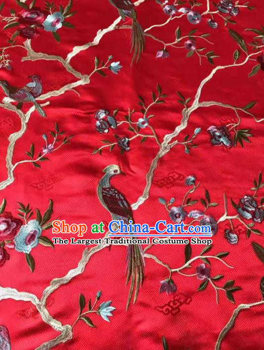 Asian Chinese Royal Embroidered Peony Birds Pattern Red Brocade Fabric Traditional Cheongsam Silk Fabric Material