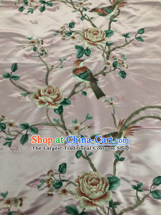 Asian Chinese Royal Embroidered Peony Birds Pattern Pink Brocade Fabric Traditional Cheongsam Silk Fabric Material