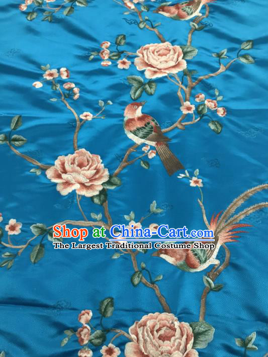 Asian Chinese Royal Embroidered Peony Birds Pattern Light Blue Brocade Fabric Traditional Cheongsam Silk Fabric Material