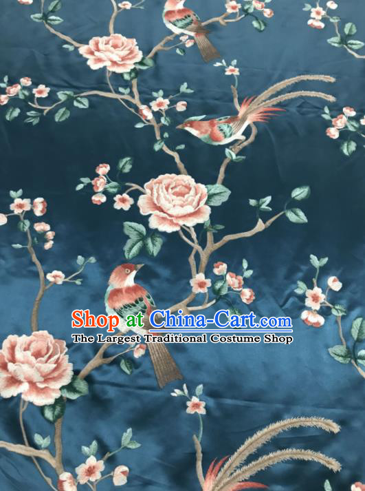 Asian Chinese Royal Embroidered Peony Birds Pattern Navy Brocade Fabric Traditional Cheongsam Silk Fabric Material