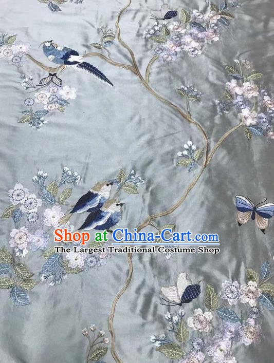 Asian Chinese Royal Embroidered Plum Blossom Pattern Blue Brocade Fabric Traditional Cheongsam Silk Fabric Material