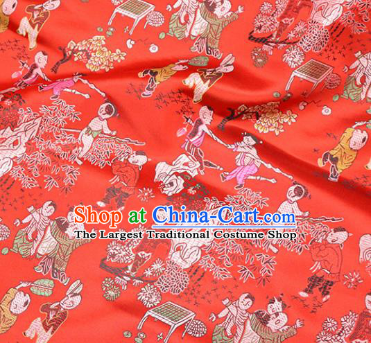 Asian Chinese Royal Hundred Children Pattern Red Brocade Fabric Traditional Silk Fabric Tang Suit Material