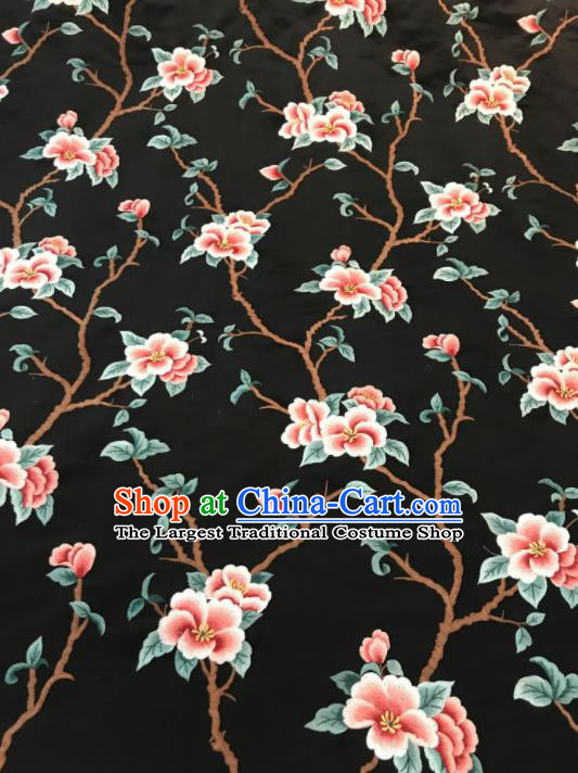 Asian Chinese Suzhou Embroidered Twine Peach Blossom Pattern Black Silk Fabric Material Traditional Cheongsam Brocade Fabric