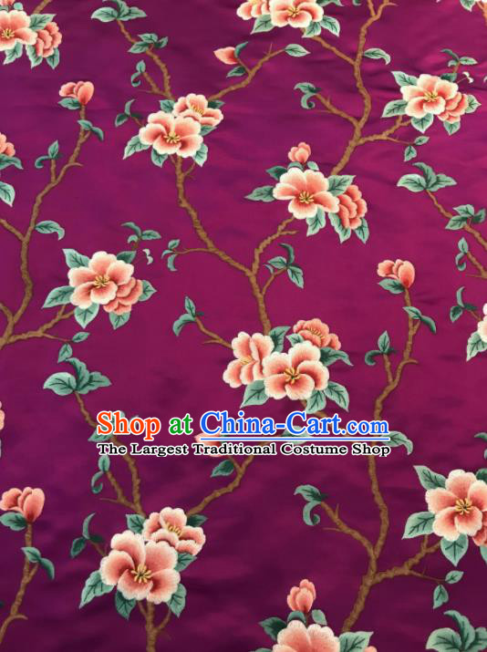Asian Chinese Suzhou Embroidered Twine Peach Blossom Pattern Purple Silk Fabric Material Traditional Cheongsam Brocade Fabric