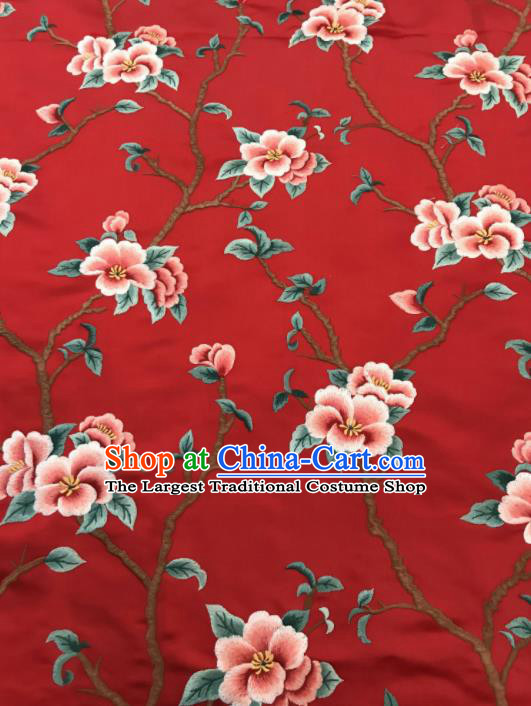 Asian Chinese Suzhou Embroidered Twine Peach Blossom Pattern Red Silk Fabric Material Traditional Cheongsam Brocade Fabric