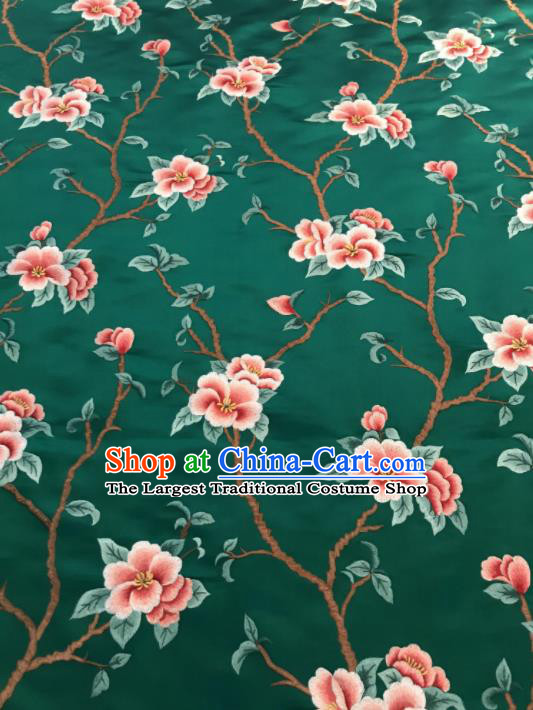 Asian Chinese Suzhou Embroidered Twine Peach Blossom Pattern Green Silk Fabric Material Traditional Cheongsam Brocade Fabric