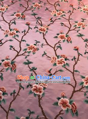 Asian Chinese Suzhou Embroidered Twine Peach Blossom Pattern Pink Silk Fabric Material Traditional Cheongsam Brocade Fabric