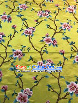 Asian Chinese Suzhou Embroidered Twine Peach Blossom Pattern Yellow Silk Fabric Material Traditional Cheongsam Brocade Fabric
