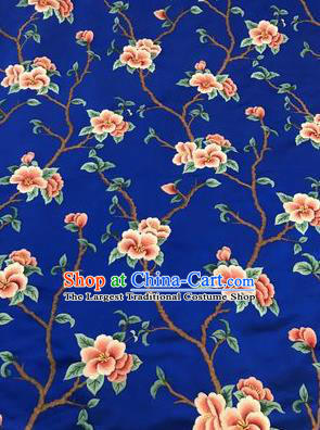 Asian Chinese Suzhou Embroidered Twine Peach Blossom Pattern Royalblue Silk Fabric Material Traditional Cheongsam Brocade Fabric