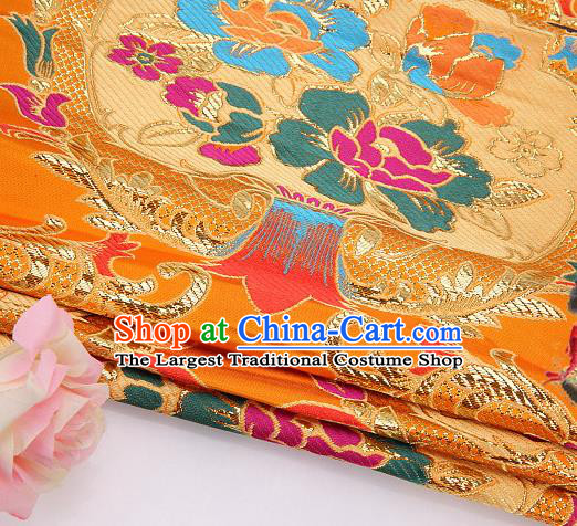 Asian Chinese Traditional Pattern Yellow Nanjing Brocade Fabric Tang Suit Silk Material