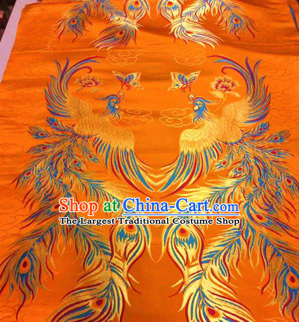 Asian Chinese Traditional Phoenix Pattern Yellow Nanjing Brocade Fabric Tang Suit Silk Material