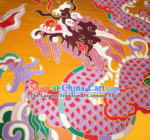 Asian Chinese Traditional Dragon Pattern Yellow Nanjing Brocade Fabric Tang Suit Silk Material