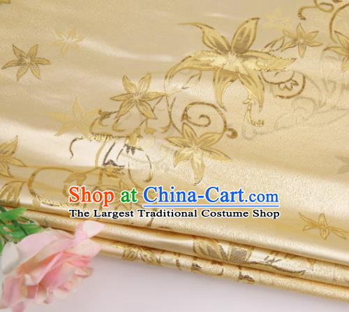 Asian Chinese Traditional Star Flower Pattern Yellow Nanjing Brocade Fabric Tang Suit Silk Material