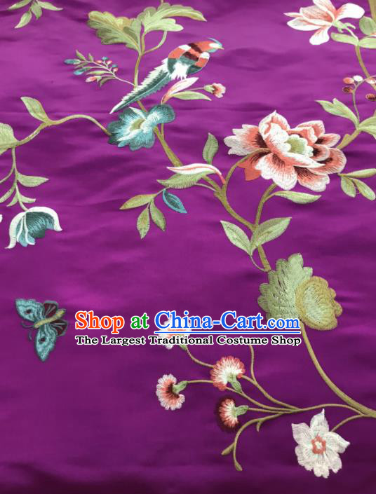 Asian Chinese Suzhou Embroidered Peony Birds Pattern Purple Silk Fabric Material Traditional Cheongsam Brocade Fabric
