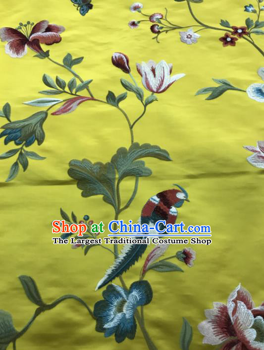 Asian Chinese Suzhou Embroidered Peony Birds Pattern Yellow Silk Fabric Material Traditional Cheongsam Brocade Fabric