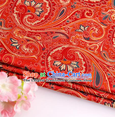 Asian Chinese Traditional Peacock Tail Pattern Red Nanjing Brocade Fabric Tang Suit Silk Material