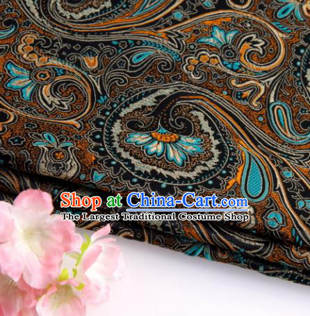 Asian Chinese Traditional Peacock Tail Pattern Black Nanjing Brocade Fabric Tang Suit Silk Material