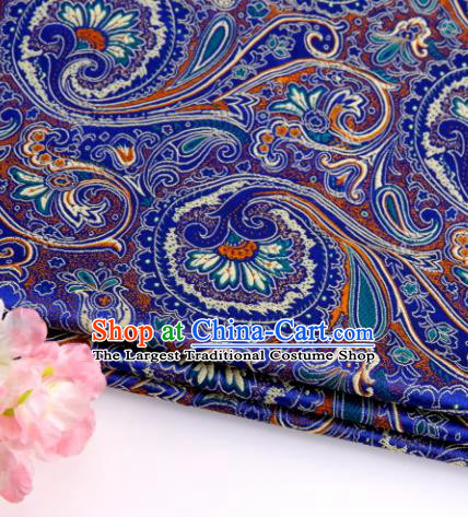 Asian Chinese Traditional Peacock Tail Pattern Royalblue Nanjing Brocade Fabric Tang Suit Silk Material